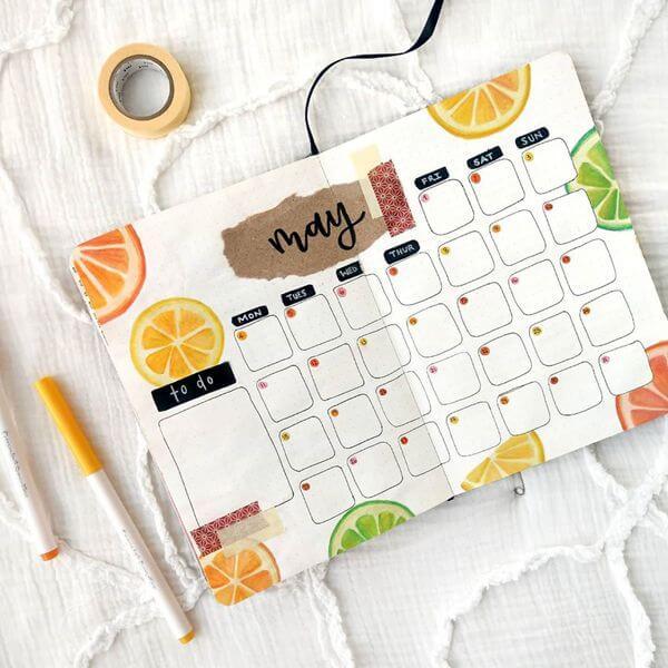 Citrus Bullet Journal Calendar Spread Ideas for May