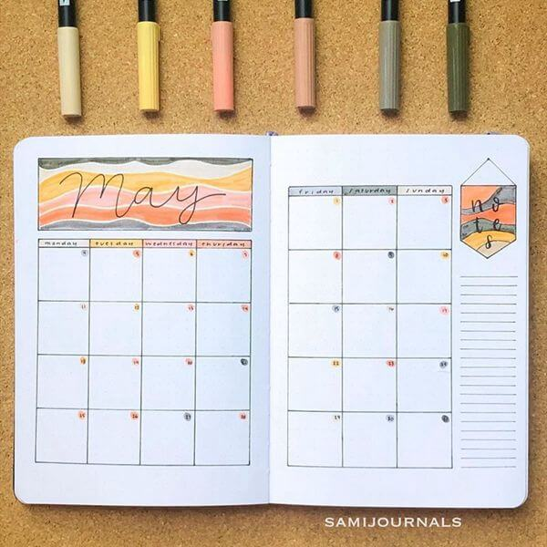 Dessert Vibes Bullet Journal Calendar Spread Ideas for May