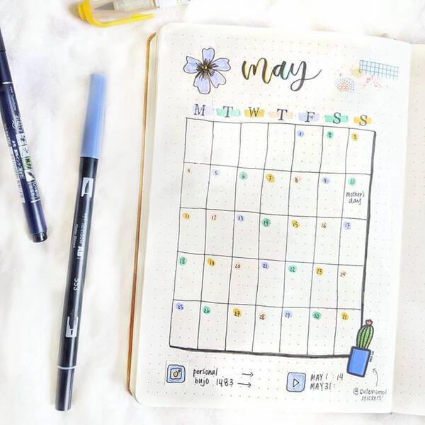 Floral Highlights Bullet Journal Calendar Spread Ideas for May