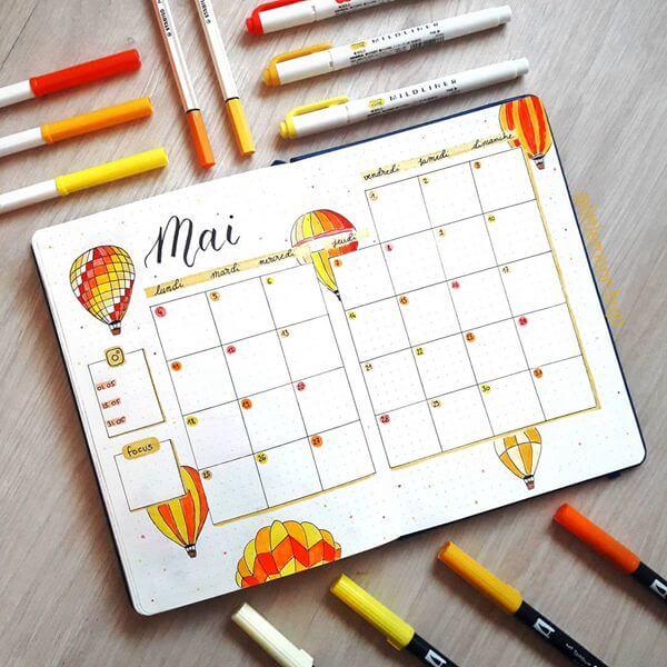 Hot Air Balloons Bullet Journal Calendar Spread Ideas for May