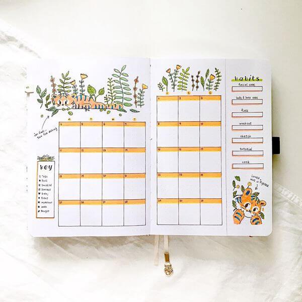 Jungle Tiger Bullet Journal Calendar Spread Ideas for May