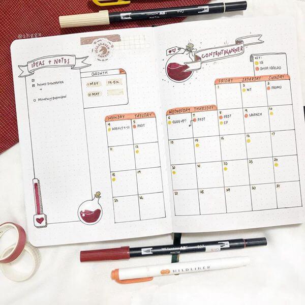 Love Potion Bullet Journal Calendar Spread Ideas for May