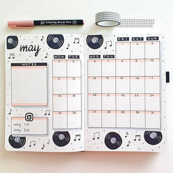 Old School Records Bullet Journal Calendar Spread Ideas for May