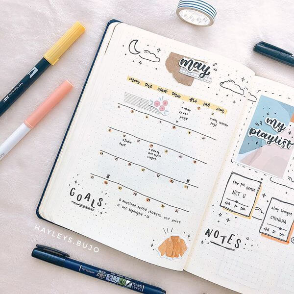 Starry Night Bullet Journal Calendar Spread Ideas for May