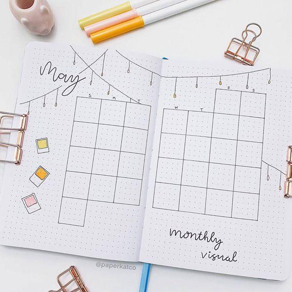 String Lights Bullet Journal Calendar Spread Ideas for May