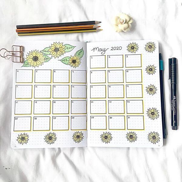 Sunflowers Bullet Journal Calendar Spread Ideas for May