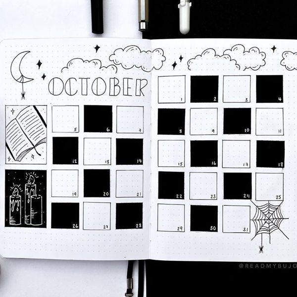 1920's Art Deco - Bullet Journal Monthly Calendar Spread Ideas for October