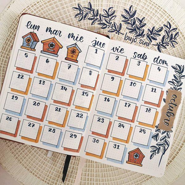 A Cubist's Dream - Bullet Journal Monthly Calendar Spread Ideas for October