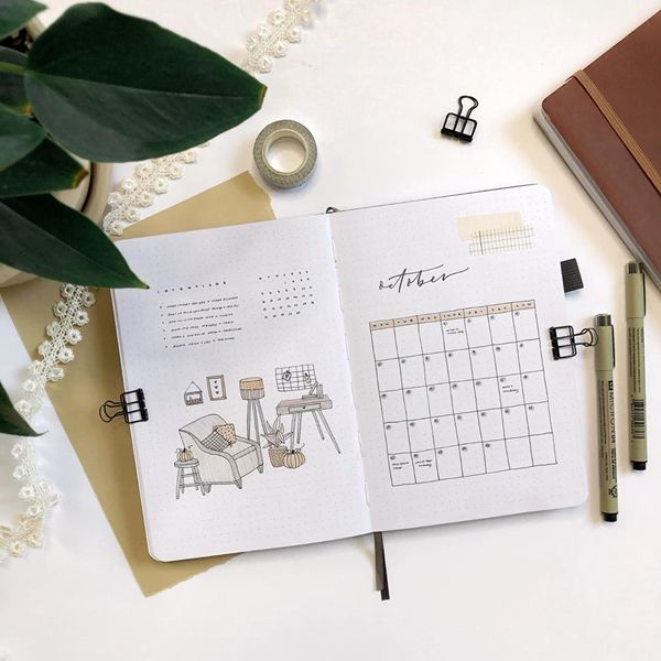 Be the Architect - Bullet Journal Monthly Calendar Spread Ideas for October