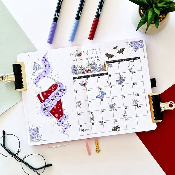 Brighten up October - Bullet Journal Monthly Calendar Spread Ideas for October