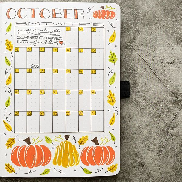 Letters and Words - Bullet Journal Monthly Calendar Spread Ideas for October