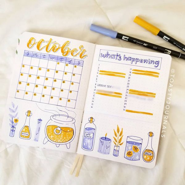 Potions of Choice Spread - Bullet Journal Monthly Calendar Spread Ideas for October