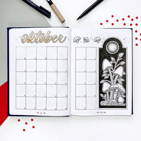 Shroom Shroom Mushroom Spread - Bullet Journal Monthly Calendar Spread Ideas for October