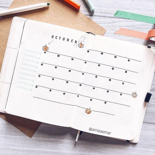 Simple Living - Bullet Journal Monthly Calendar Spread Ideas for October