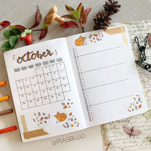 Sleepy Foxy - Bullet Journal Monthly Calendar Spread Ideas for October