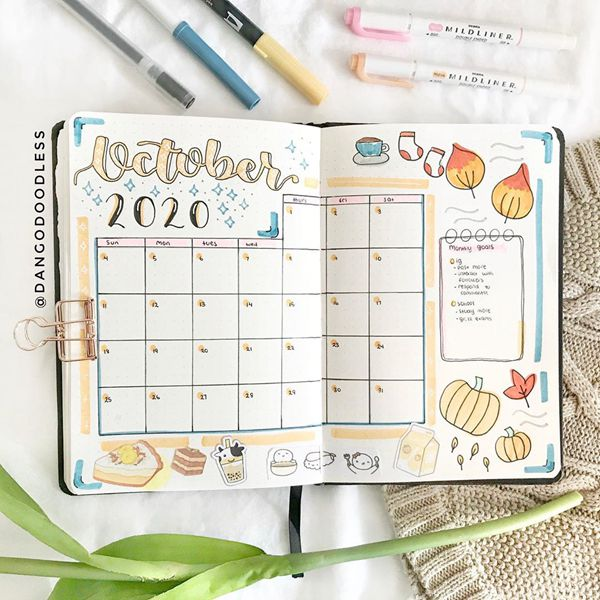 Stocking up Before Winter - Bullet Journal Monthly Calendar Spread Ideas for October