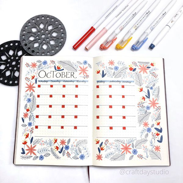 Summer Blossoms in October - Bullet Journal Monthly Calendar Spread Ideas for October