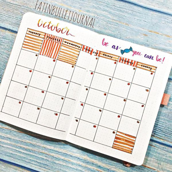 The Sweet Oranges and Ochres - Bullet Journal Monthly Calendar Spread Ideas for October