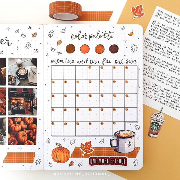 Yummy Recycling - Bullet Journal Monthly Calendar Spread Ideas for October