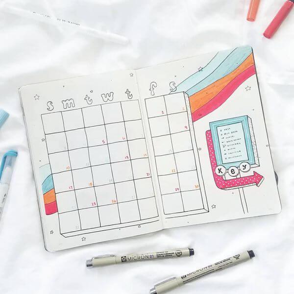 70s Vibes Bullet Journal Calendar Spread Ideas for May