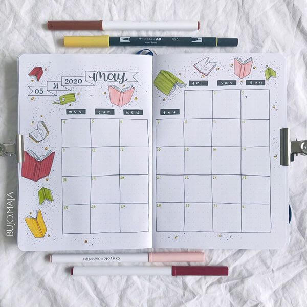 Adventures in Reading Bullet Journal Calendar Spread Ideas for May