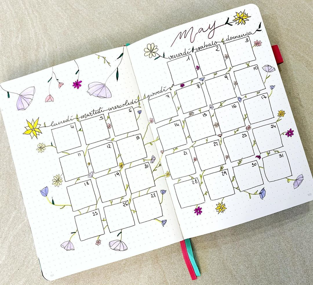 Flower Sketches Bullet Journal Calendar Spread Ideas for May
