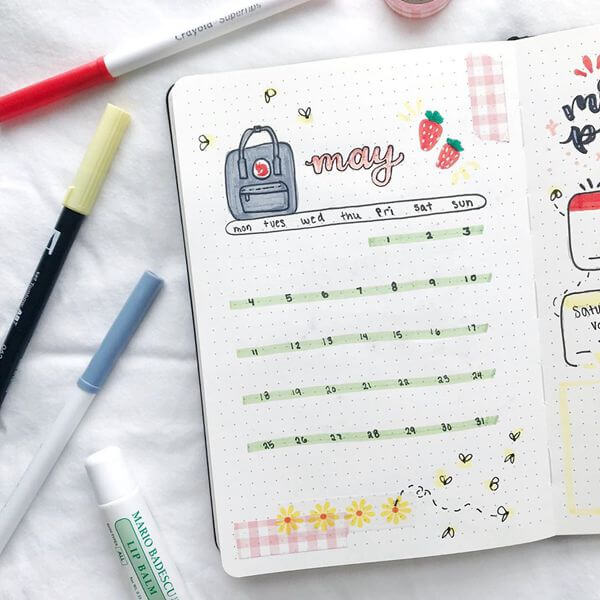 Graph Paper Gingham Bullet Journal Calendar Spread Ideas for May
