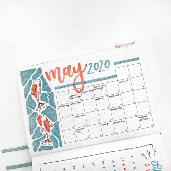 Koi Fish Bullet Journal Calendar Spread Ideas for May
