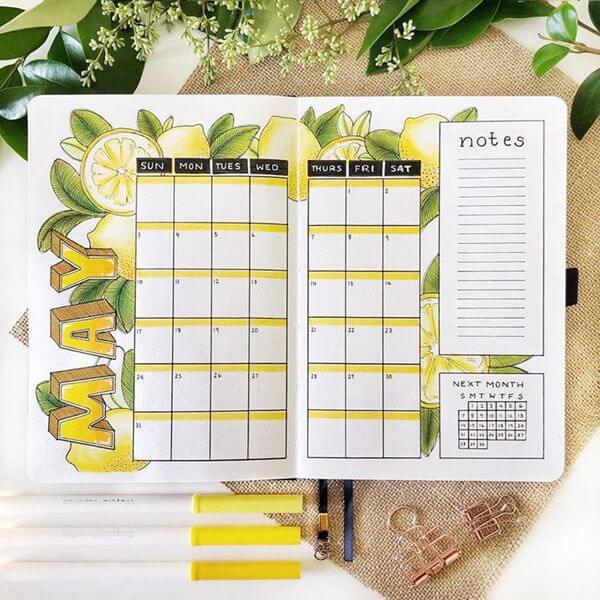 Lemons Bullet Journal Calendar Spread Ideas for May