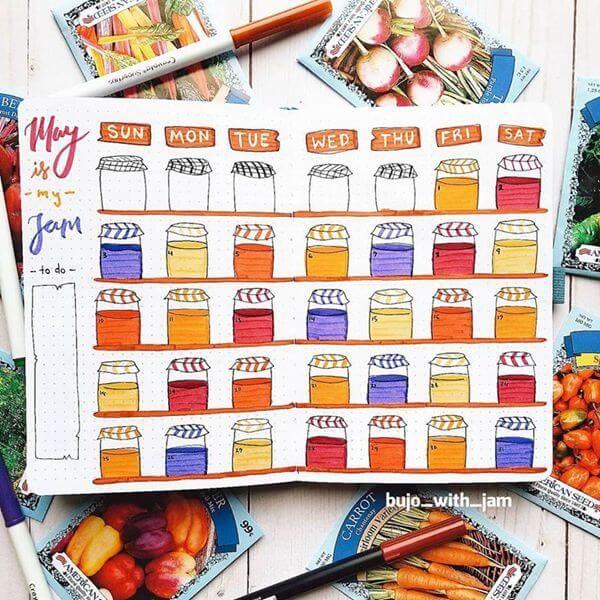 May is my Jam Bullet Journal Calendar Spread Ideas for May