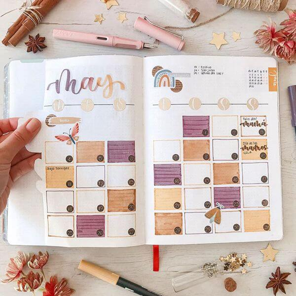 Peach and Purple Gradient Bullet Journal Calendar Spread Ideas for May