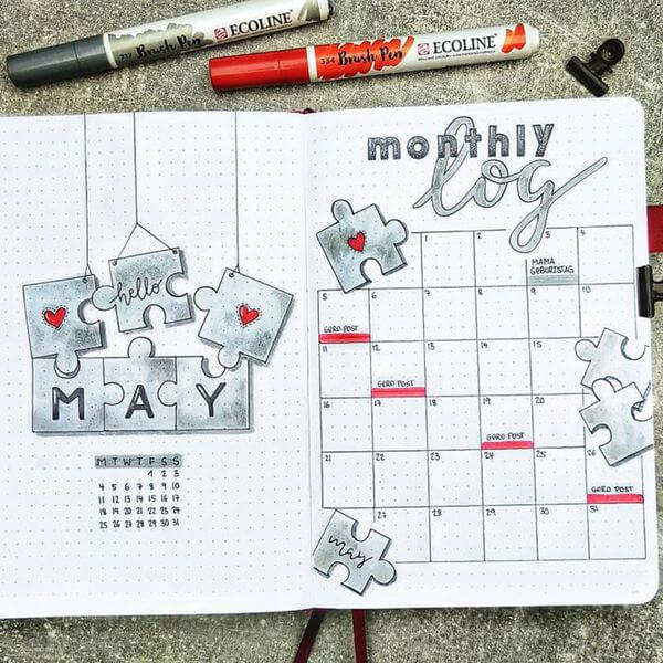 Puzzled Bullet Journal Calendar Spread Ideas for May