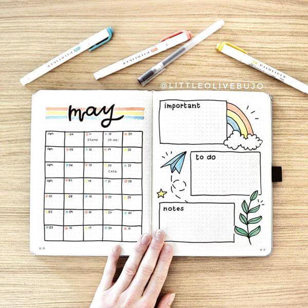 Reach for the Sky Bullet Journal Calendar Spread Ideas for May