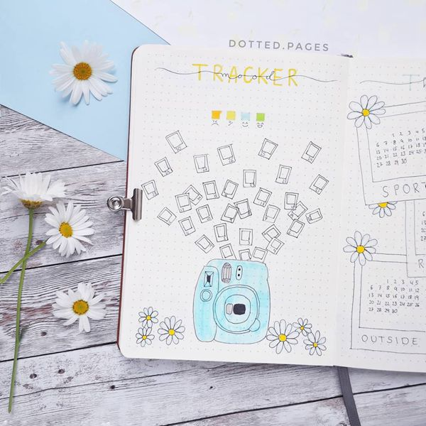 Snap Snap Snap And Say Cheese Bullet Journal Mood Tracker Ideas for May