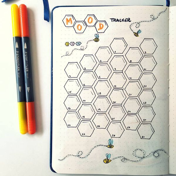 Sweet as You Can Bee Bullet Journal Mood Tracker Ideas for May