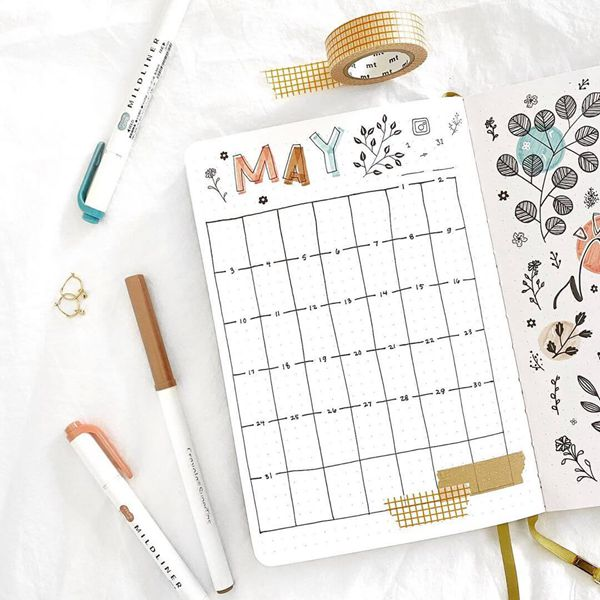 Vertical Lines Bullet Journal Calendar Spread Ideas for May