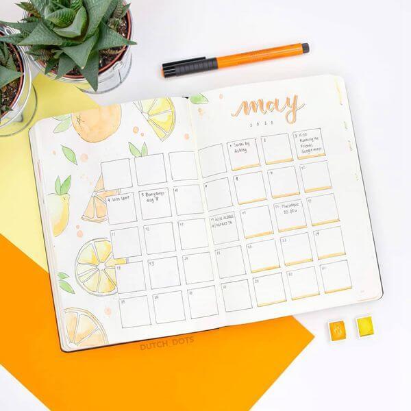 Watercolor Citrus Bullet Journal Calendar Spread Ideas for May