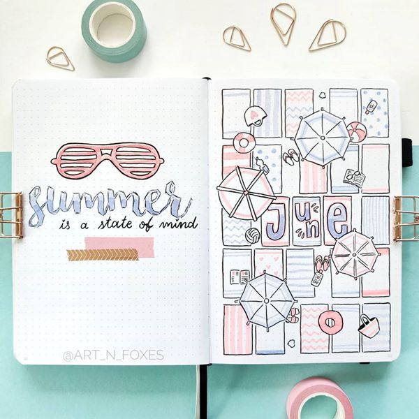 Beach Towels - Bullet Journal Cover Ideas for June