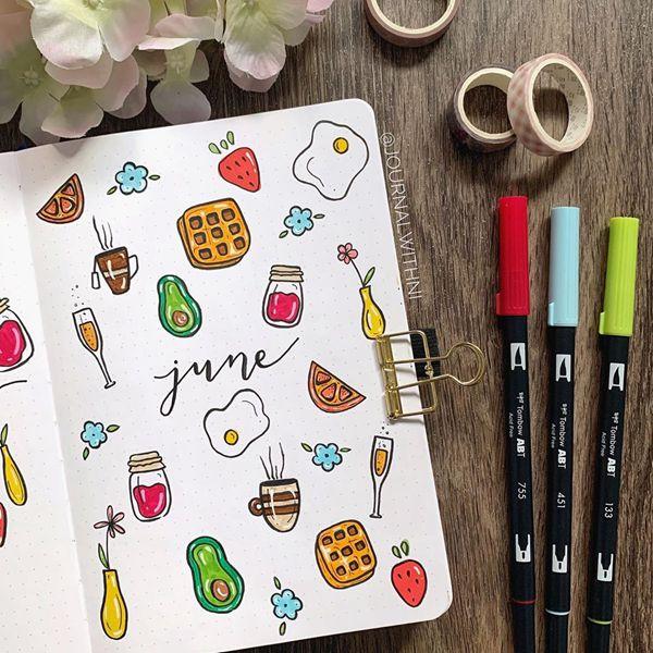 Brunch Goals - Bullet Journal Cover Ideas for June