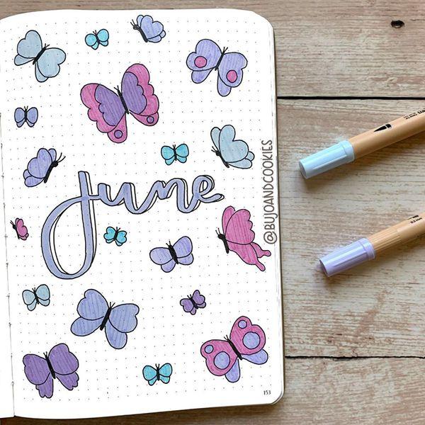 Butterflies - Bullet Journal Cover Ideas for June