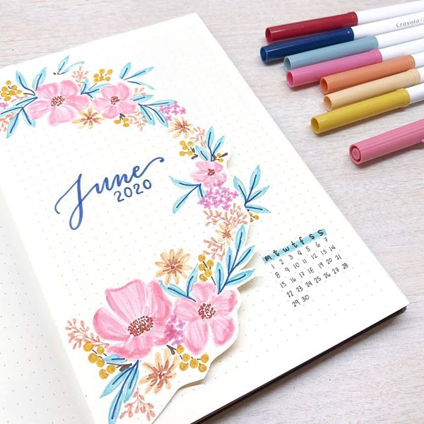Floral Wreath - Bullet Journal Cover Ideas for June