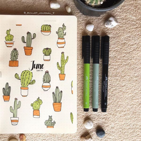 Prickly and Pretty - Bullet Journal Cover Ideas for June