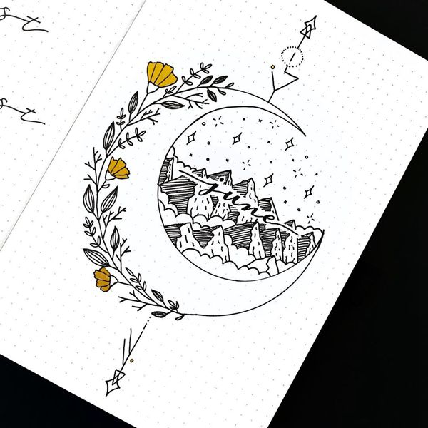Mountains and the Moon - Bullet Journal Cover Ideas for June