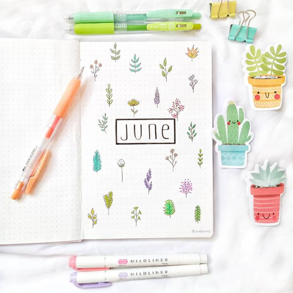 Rainbow Plants - Bullet Journal Cover Ideas for June