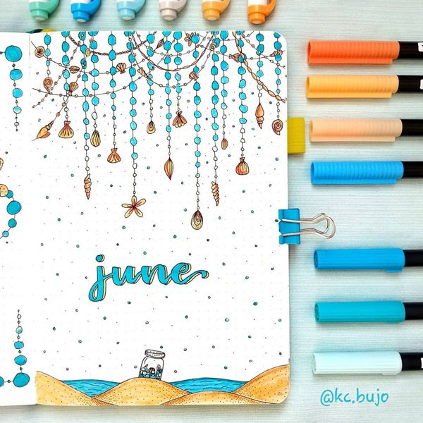 Seashells and Sea Glass - Bullet Journal Cover Ideas for June