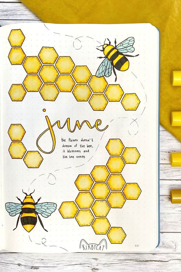 Sweet Honeycombs - Bullet Journal Cover Ideas for June