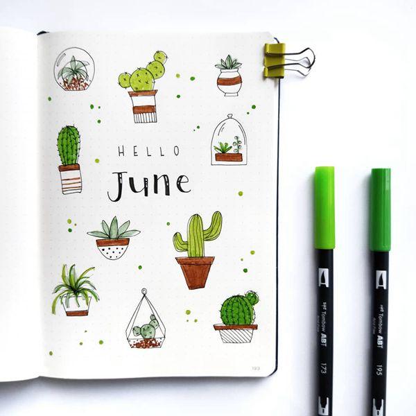 Terrariums - Bullet Journal Cover Ideas for June