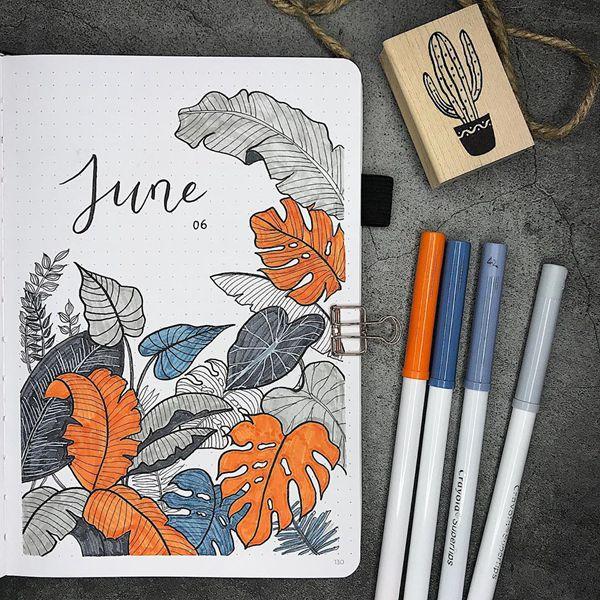 Tropic Leaves - Bullet Journal Cover Ideas for June