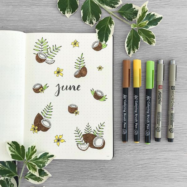 Tropical Coconuts - Bullet Journal Cover Ideas for June