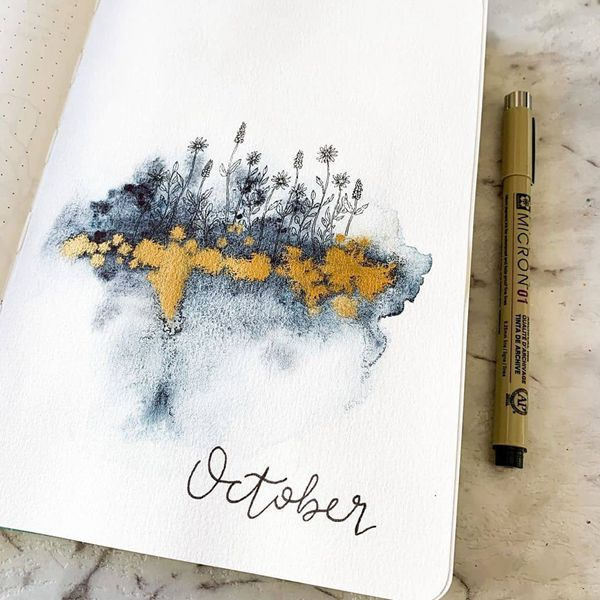 A Touch Of Gold - Bullet Journal Cover Pages Ideas for October